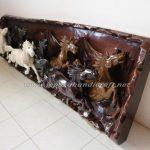 Relief Jepara Kuda Lari Finishing Warna