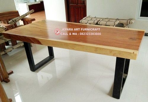 Terbaru meja-makan-trembesi-minimalis-unik-kaki-besi-gawang-2 Murah