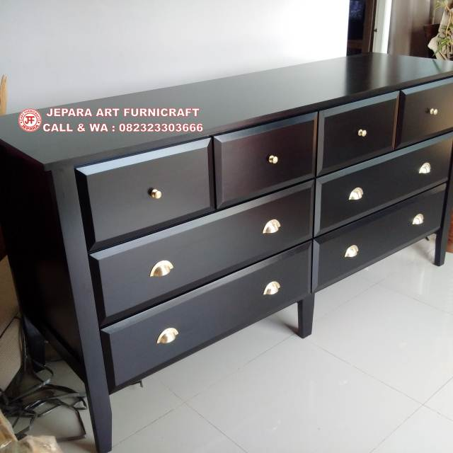 Meja Minimalis Drawer Black Duco
