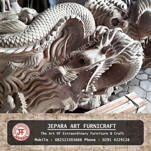 Patung Relief Naga Leang Leong Kayu Utuh