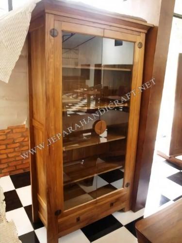 Lemari Hias Antik Minimalis Jati Koboi Pintu 2