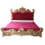 Tempat Tidur Classic Mewah Baroque Red Velvet