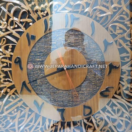 Jam Dinding Kaligrafi Ukiran Ayat Kursi Bulat Kualitas Terbaik