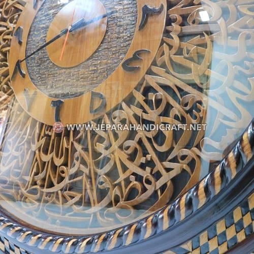 Jam Dinding Kaligrafi Ukiran Ayat Kursi Bulat Terbaru