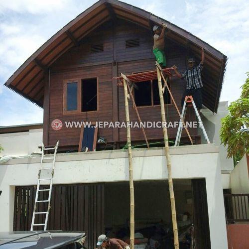 Jual Gazebo Rumah Kayu Kelapa Atap Sirap Ulin Murah