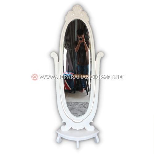 Jual Cermin Berdiri Adelia Ukir Mewah Duco Putih Murah