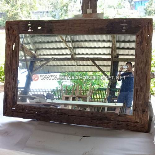 Jual Cermin Hias Antik Kayu Rel Recycled Murah