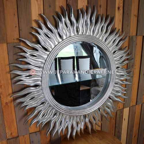 Jual Cermin Hias Dinding Ukir Matahari Silver Jati Murah