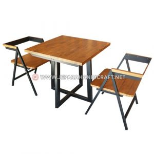 Jual Meja Kursi Cafe Resto Jati Industrial Joan Jepara Murah