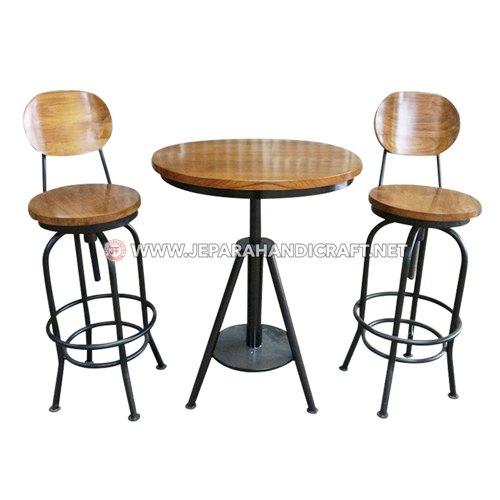 Jual Meja Kursi Bar Cafe Jati Industrial Joan Jepara Murah