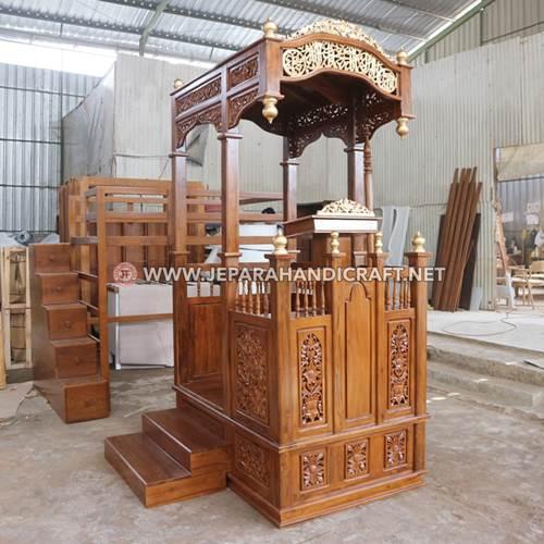 Jual Mimbar Masjid Ukiran Kayu Jati Jepara Terbaru